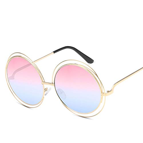 JIGHB Sonnenbrille weiblich Fashion Round Sunglasses Women Metal Oversized Vintage Female Sun Glasses for Women Uv400