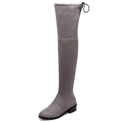 TAOFFEN Femmes Comfortable Talon bas Automne Hiver Grand Bottes Chaussures 1404 Gray