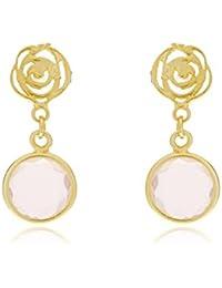 Córdoba Jewels | Pendientes en plata de Ley 925 bañada en oro. Diseño Roseta Dolce Rosa de Francia