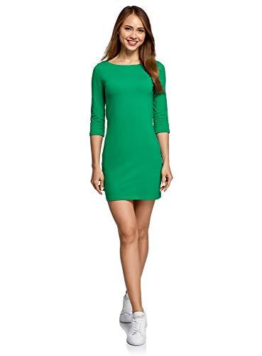 oodji Ultra Damen Baumwoll-Kleid Basic, Grün, DE 38 / EU 40 / M (Grün M&m Kostüm Damen)