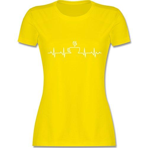 Küche - Herzschlag Kaffee - XXL - Lemon Gelb - L191 - Damen T-Shirt Rundhals (Spaß Küche)