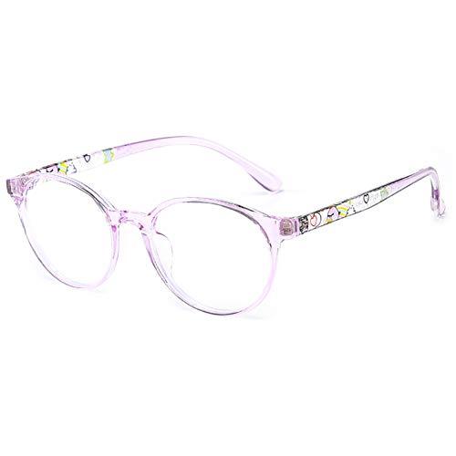 KOOSUFA Kinderbrille Ohne Stärke Blaulichtfilter Rund Brillenfassung Brillengestell Anti Blaulicht Brillen TR90 Rahmen Anti Müdigkeit für Mädchen und Jungen (Lila)