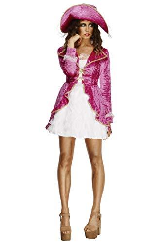 (Smiffys Fever Kollektion Piraten-Schatz Kostüm Rosa Jacke mit angesetztem Kleid und Hut, X-Small)