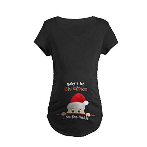 Yying Maglietta delle Donne di Gravidanza Sleeveless Natale Bambino Stampato Canotte Tshirt Gravidanza T-Shirt Incinta Tee Shirts Abbigliamento