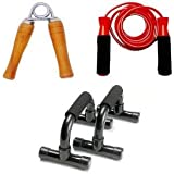 Monika Sports Push Up Bar + Wooden Hand Grip + Plastic Skipping Rope For Exercise Gym & Fitness Kit