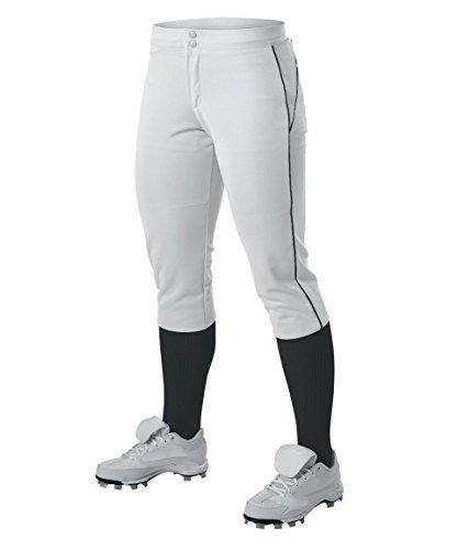 Alleson Ahtletic Damen Fastpitch/Softball Hose mit Gürtelschlaufen, Damen, weiß/schwarz, XX-Large