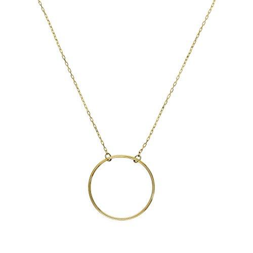Collar Oro Amarillo de 9 Quilates Círculo de Karma | Colgante y Cadena 35.5 cm