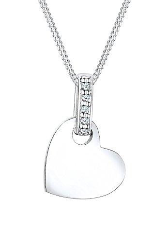 Diamore Damen Schmuck Halskette Kette mit Anhänger Herz Liebe Freundschaft Liebesbeweis Silber 925 Diamant 0,05 Karat Silber Länge 45 cm
