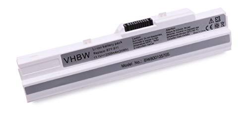 vhbw Batterie 2200mAh pour Ordinateur Portable MSI Wind U90, U100, U115 etc. remplace BTY-S11, BTY-S12, BTY-S13, 40046971A1, 14L-MS6837D1, 3715A-MS6837D1
