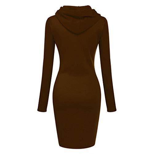 Zottom Einfarbiges Kleid mit Langen Ärmeln, Langärmliges festes Patchwork-O-Hals-beiläufiges langes mit Kapuze Sweatshirt-Kleid der Frauen (Mädchen Lila Kostüm Boa)
