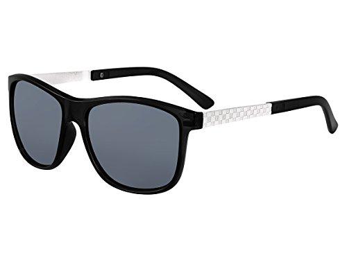 Alsino Sonnenbrille Herren Vintage Damen 80er Jahre Nerd Brille Ovale Gläser Hornbrille, Variante wählen:V-1327 schwarz silber