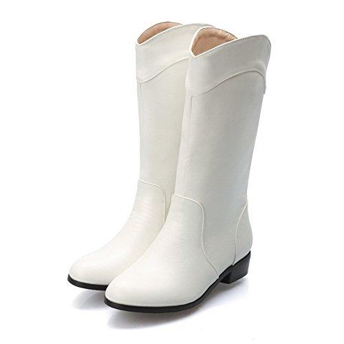 Branco Couro Senhoras Salto De Puxar apontou Toe Mid Alguns Baixo Pu Agoolar Botas ww7SxB