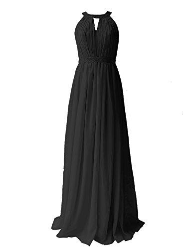 Dresstells, Robe de soirée Robe de cérémonie Robe de demoiselle d'honneur longueur ras du sol col rond sans manches Noir