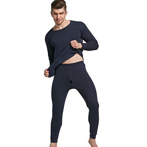 ➤Refill➤Schlafanzüge für Herren,Herren Schlafanzug lang mit Bündchen Zweiteiliger Herren Pyjama Lang Baumwolle Winter Nachtwäsche Langarm Rundhals Shirt und Pyjamahose mit