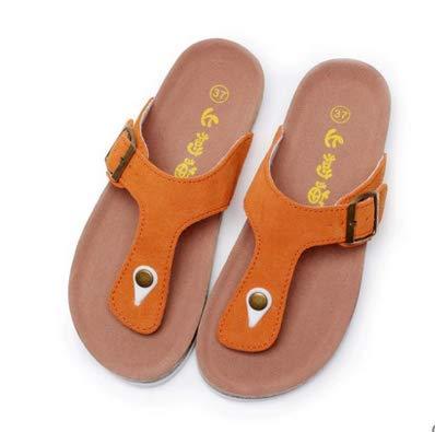 Shukun Chancletas del dedo del pie Slippers Women's Summer Fashion Outdoor Flip Flops Women's Flippers Toe Cork Slippers Couple Beach Shoes,36,Orange