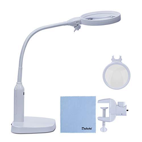Delixike Leselupe mit Ständer, 2-in-1, 2 x 5-fache Schreibtisch- und Klemmlupe, helle LED-Leuchten für Hobby, Handwerk, Werkbank (Werkbank Lupe)