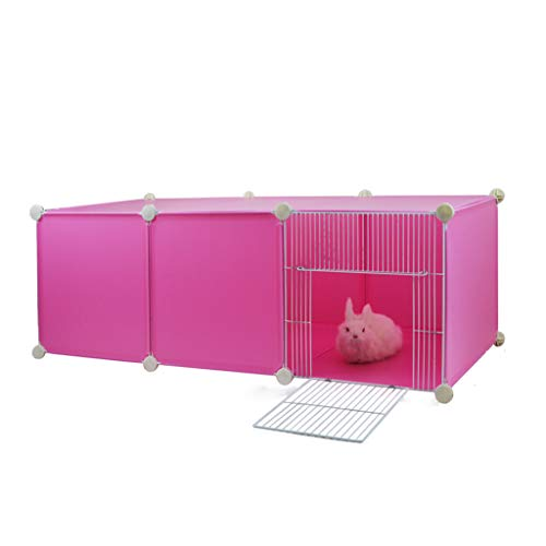 Erweiterbare kleine Tiere Kunststoff Laufstall Käfig Zwinger, Käfig Pet Nest Indoor Kleine Hund Winter Katze Lieferung geschlossen Vier Jahreszeiten Universal, Indoor & Outdoor, Pink -