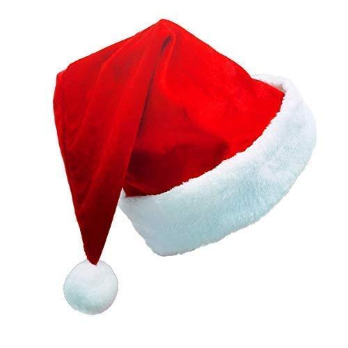 Kingstar Craft Weihnachtsmütze, für Erwachsene, große Nikolausmütze, bequem, Doppelfutter, Plüsch, roter Samt, für Partys (Kostüme Party-stadt Neue)