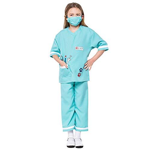 Kostüm Doktor Mädchen - YFCH Kinder Mädchen Kostüm Halloween Karneval Party Arzt Ärztin Doktor Krankenschwester Kinderkostüm