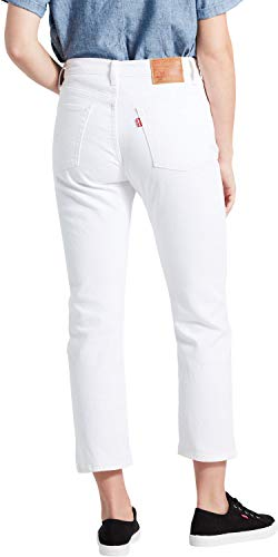 Levi's Damen 501 Crop Straight Jeans, Weiß (In The Clouds 0032), W25/L28 (Herstellergröße: 25 28) -