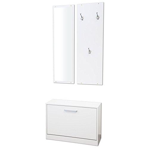 Garderoben-Set 3-teilig PISA (Weiß) mit nässebeständigen und kratzfesten Melaminbeschichtung