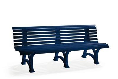 Parkbank aus Kunststoff – mit 13 Leisten – Breite 1500 mm, stahlblau – Bank Gartenbank Kunststoff-Bank Kunststoff-Bänke Ruhebank - 6