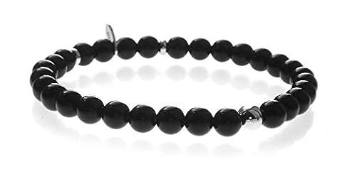 Black Onyx Rhodium 925 Silver Bead 6mm Stretch Bracelet