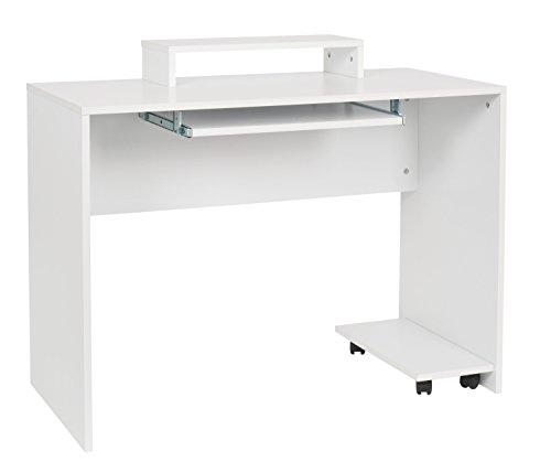 h Computertisch Schreibtisch Bürotisch PC-Tisch mit Tastaturauszug und Monitorablage Weiß ()