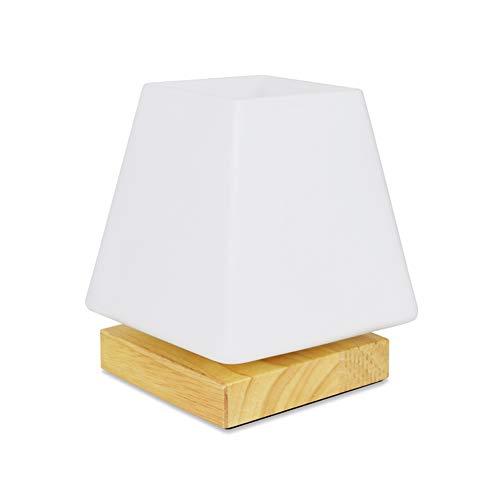 AIZYR LED E27 Nachtlichter 5W Morden Einfach Stil Für Schlafzimmer Wohnzimmer Esszimmer Dekoration Holz-Glas Trapez Dimmbare Lampe Warm Tischleuchte
