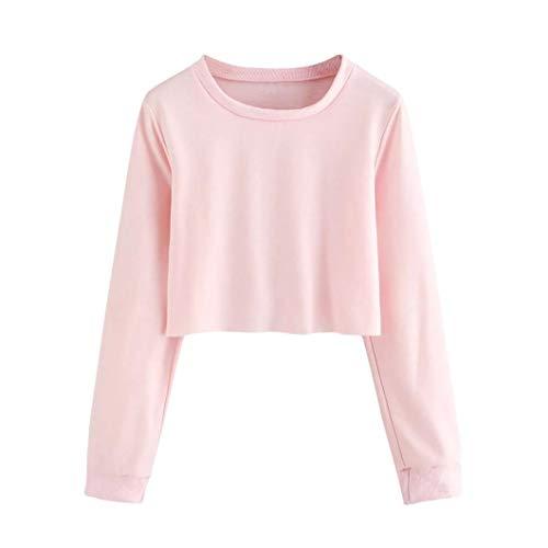 Frauen Rundhals Einfarbig langärmelige Kurze Pullover Oben Damen Langarm o Hals solid Sweatshirt...