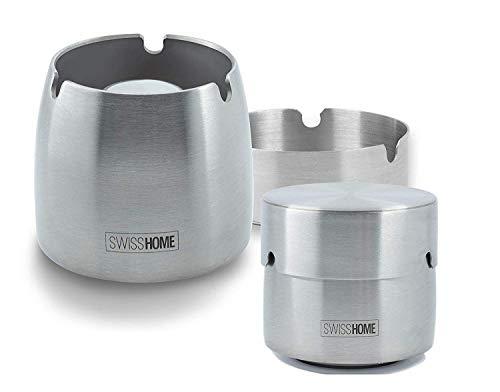 SWISSHOME - Aschenbecher mit Deckel für Drinnen und Draußen - Das ORIGINAL in Premium Qualität aus Rostfreiem Edelstahl - Größe M