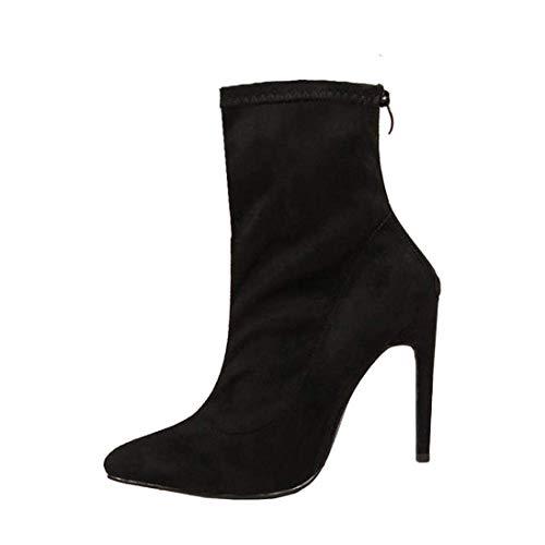 (Ausverkauf Mode Herbst Damen Flock Schuhe Party Wildleder Zip Schuhe Mädchen Sexy Stiletto Zipper Boots (Farbe : Schwarz, Größe : 5 UK))