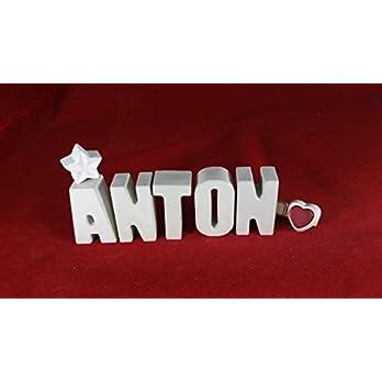 Beton, Steinguss Buchstaben 3D Deko Namen ANTON mit Stern und Herzklammer als Geschenk verpackt! Ein ausgefallenes Geschenk zur Geburt, Taufe, Geburtstag, Namenstag oder auch zu anderen Anlässen.