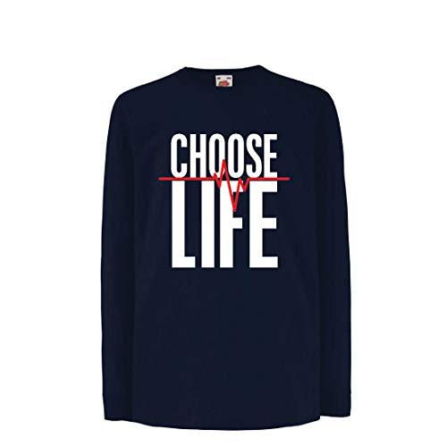 lepni.me Kinder-T-Shirt mit Langen Ärmeln Wählen Sie das Leben Herzschlag, Anti-Abtreibung politischen Protest, Christian Zitat (9-11 Years Blau Mehrfarben)