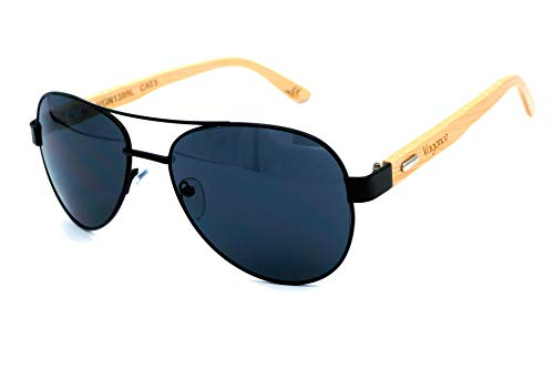Vagance Echtholz Bambus Pilotenbrille mit schöner Holzbox (Schwarz, Schwarz)