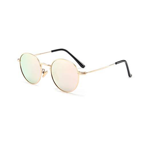 Vintage Kleine Runde Kinder Polarisierte Sonnenbrille Vollmetall Mit Box Farbige Linse UV Schutz Jungen Und Mädchen Alter 3 Bis 12 Brille (Farbe : Rosa)
