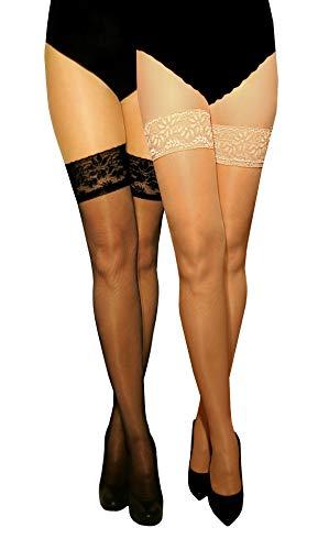 Marilyn transparente, halterlose Strümpfe mit 10 cm Silicon-Haftband-Spitze im Set, 15 Denier, Größe 42 (XL), Farbe je 1x nero, visone