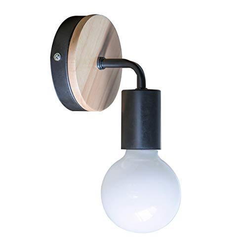 OYGROUP Loft negro lámpara de pared Simplicidad E27 LED de hierro y placa de madera lámparas de pared...