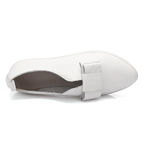 AgooLar Damen Spitz Schließen Zehe Niedriger Absatz Rein Ziehen Auf Pumps Schuhe Weiß
