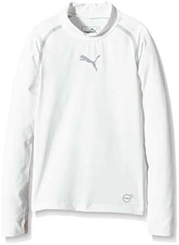 PUMA Kinder T-shirt TB Jr Long Sleeve Tee Warm, white, 116, 654867 04