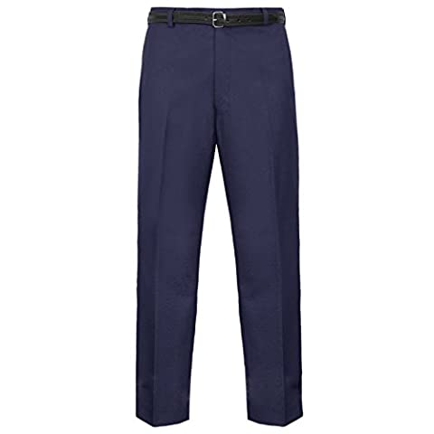 MEN TROUSERS OFFICE BUSINESS WORK FORMAL CASUAL SMART BIG PLUS BELT POCKET PANTS (Waist 36