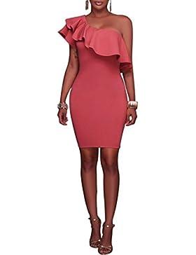 swall owuk manera vestido Mujeres Verano inclinados Hoja de loto vestido rojo rojo medium