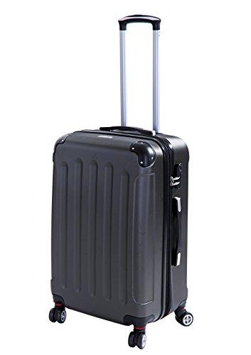 P-Collection Koffer Trolley Handgepäck Hartschale 4 Zwillingsrollen (Anthrazit Größe L)