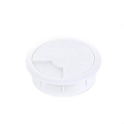 Kabeldurchführung (8 Stück) / Kabeldurchlass/Schreibtischkanal für Schreibtische, Büro & Arbeitsplatten | Sossai® KDM2-60 | Farbe: Weiß | Durchmesser: 60 mm | Material: Kunststoff