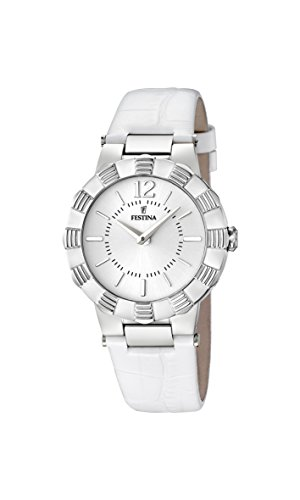 Festina Women's Quartz Watch with White Dial Analogue Display and White Leather Strap F16734/1