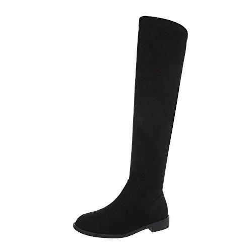 Ital-Design Overknees Damen-Schuhe Blockabsatz Reißverschluss Stiefel Schwarz, Gr 39, Bt6283-Hb-