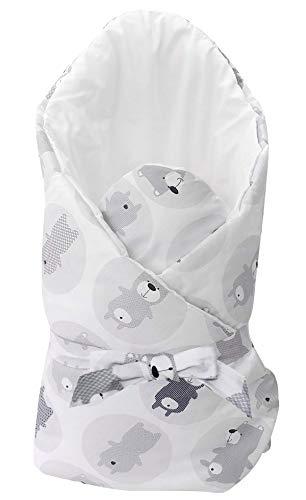 Vizaro - BABYHÖRNCHEN/Einschlagdecke/Wickeltuch/Decke/Pucksack - sehr weich - 100% REINE BAUMWOLE - Made in EU - ÖkoTex - SICHERES PRODUKT - K. Graue Bären