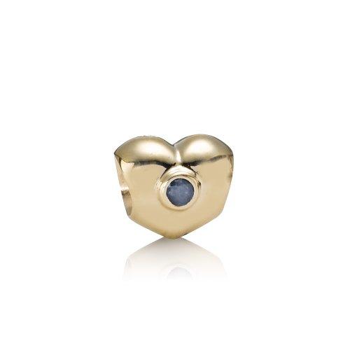 Pandora Damen-Bead  14 Karat (585) Gelbgold Herz mit Saphir