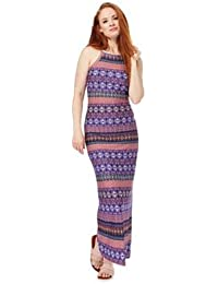 7f317ab466f Red Herring Womens Multi-Coloured Printed Jersey Maxi Dress