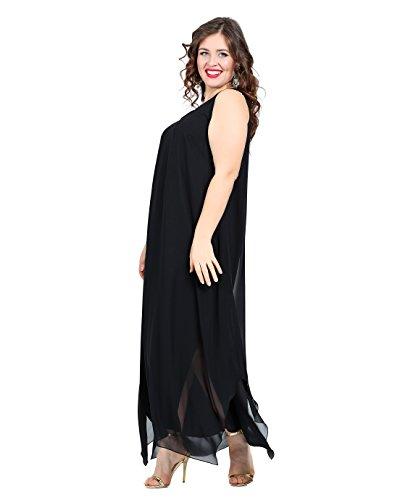 Damen Kleid Abendkleid dezent auch Große Größen, schickes Kleid Cocktail/A-Linie elegant Gitter transparentem Tüll leicht angenehm, Plus Size Übergrößen Schwarz